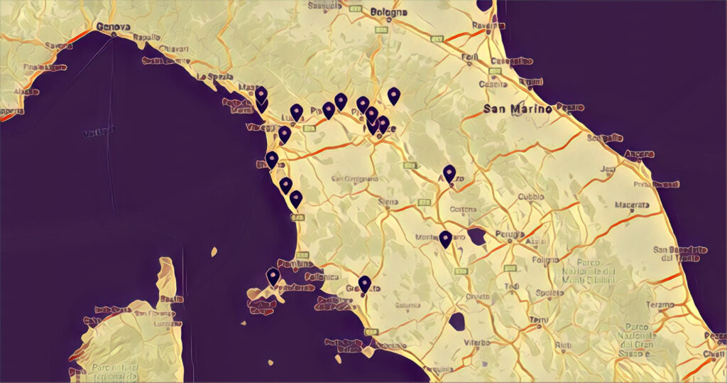 mappa skatepark toscana