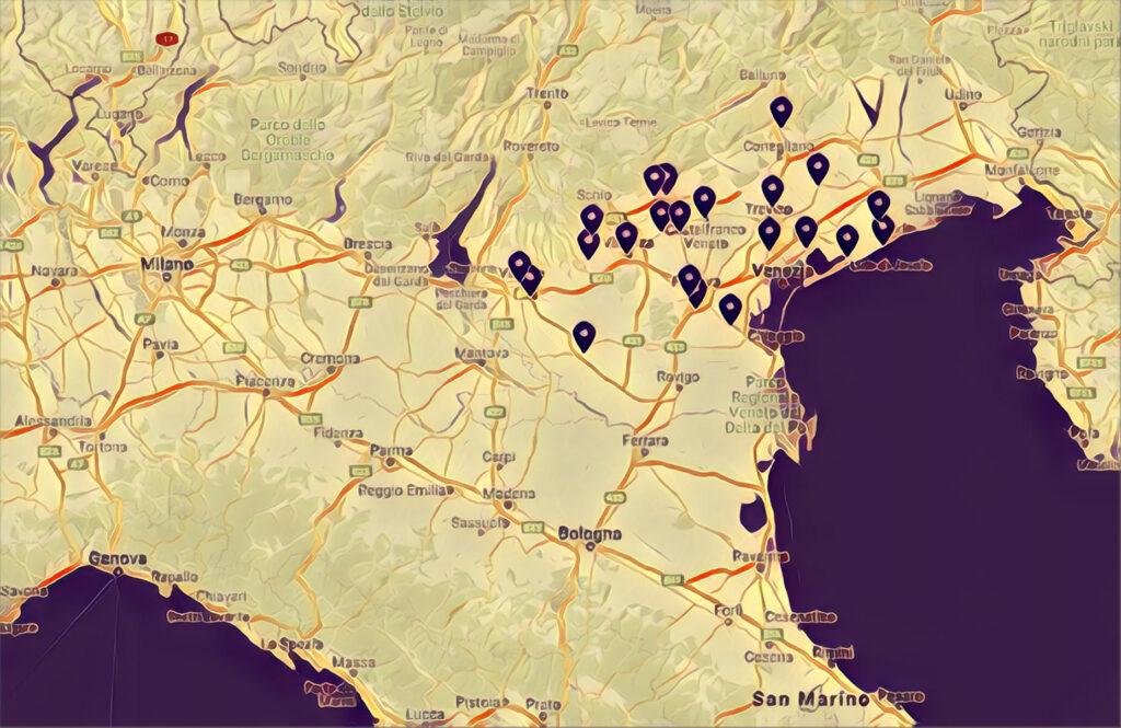 Mappa Skatepark Veneto