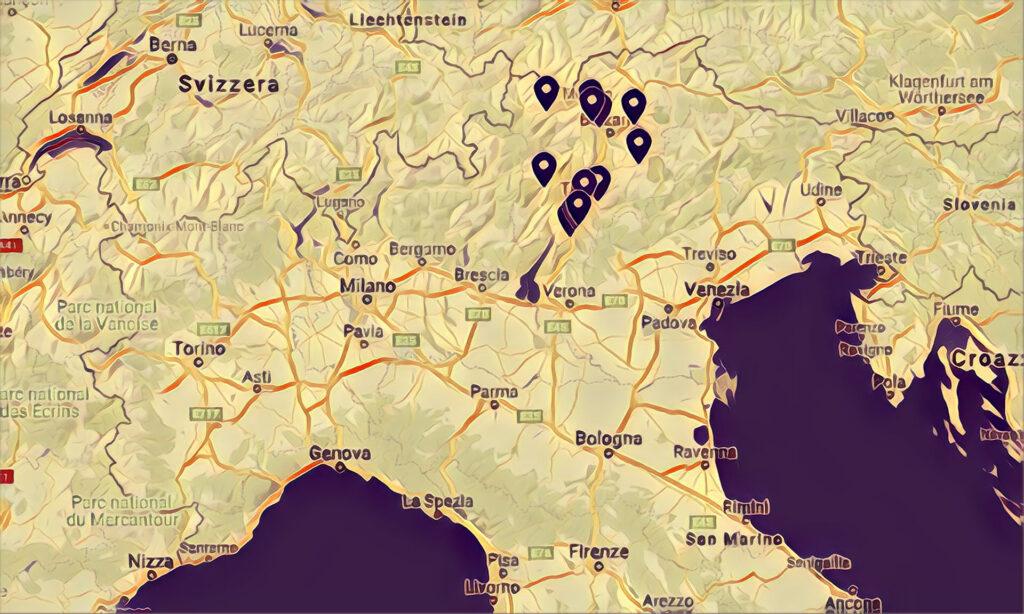 Mappa Skatepark Trentino Alto Adige.