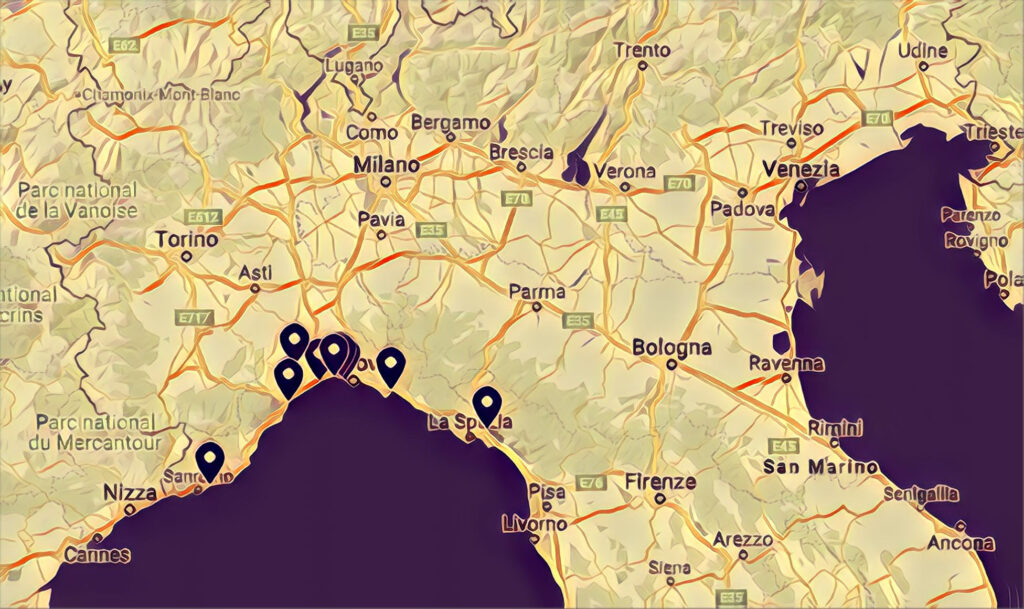 Mappa Skatepark Liguria